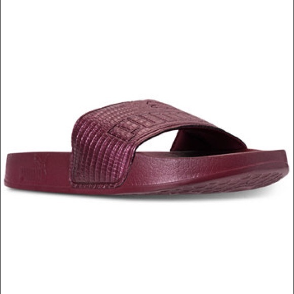 Puma Womens Lead-cat Leather Slide Sandals 1d88b0d5a3